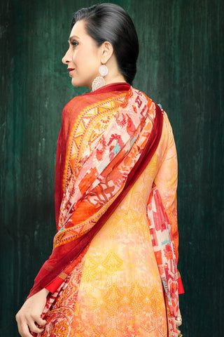 Atisundar magnificent Light Orange Embroidery on Printed Faux Georgette - 10461 - atisundar - 6