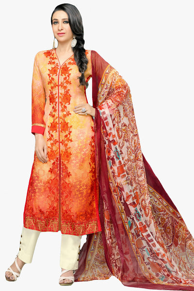 Atisundar magnificent Light Orange Embroidery on Printed Faux Georgette - 10461 - atisundar - 1 - click to zoom
