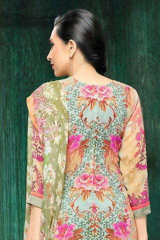 MF ELEENZA:atisundar classy Greyish Green Embroidery on Printed Faux Georgette - 10462 - atisundar - 6