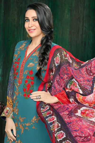 Atisundar bewitching  Blue Embroidery on Printed Faux Georgette - 10464 - atisundar - 6 - click to zoom