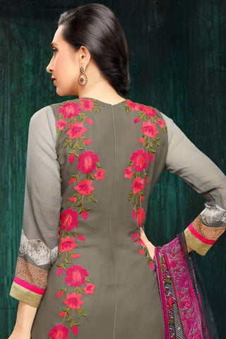 Atisundar splendid Grey And Off White Embroidery on Printed Faux Georgette - 10467 - atisundar - 5