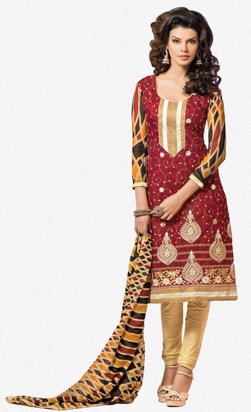 Designer Embroidered Chanderi Cotton Suits:atisundar graceful Maroon Straight Cut Embroidered Dress Material - 6334 - atisundar - 2 - click to zoom