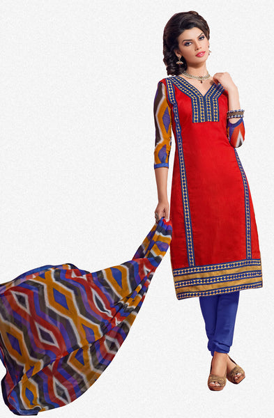 Designer Embroidered Chanderi Cotton Suits:atisundar fair Red Straight Cut Embroidered Dress Material - 6336 - click to zoom