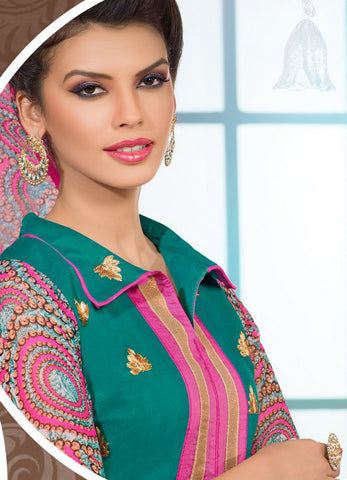 Designer Embroidered Chanderi Cotton Suits:atisundar Great Green Straight Cut Embroidered Dress Material - 6342 - atisundar - 5