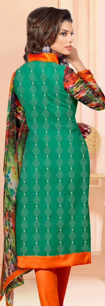 Designer Embroidered Chanderi Cotton Suits:atisundar Awesome Bottle Green Straight Cut Embroidered Dress Material - 6347 - atisundar - 4 - click to zoom