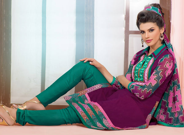 Designer Embroidered Chanderi Cotton Suits:atisundar marvelous Purple Straight Cut Embroidered Dress Material - 6349 - atisundar - 4 - click to zoom