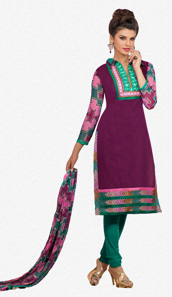 Designer Embroidered Chanderi Cotton Suits:atisundar marvelous Purple Straight Cut Embroidered Dress Material - 6349 - atisundar - 2 - click to zoom