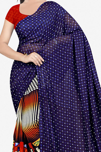 Designer Saree:atisundar exquisite Designer Saree in Faux Georgette in Dark Blue   - 11655 - atisundar - 2 - click to zoom