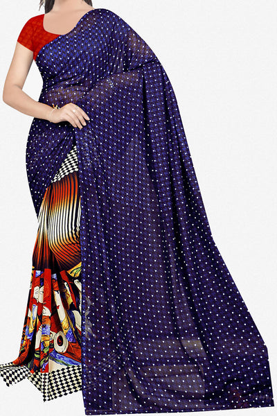 Designer Saree:atisundar exquisite Designer Saree in Faux Georgette in Dark Blue   - 11655 - atisundar - 1 - click to zoom