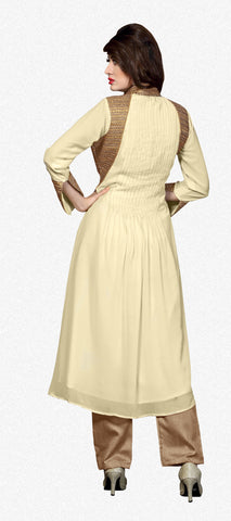 Designer Straight Cut:atisundar Beautiful Beige Designer Straight Cut  - 8624 - atisundar - 3