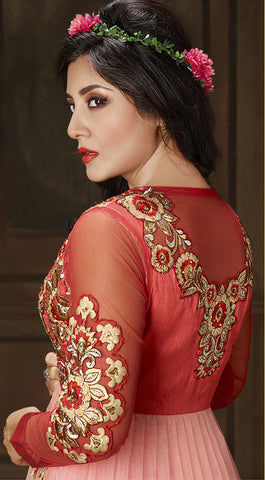 The Rimi Sen Collection:atisundar Attractive Red Designer Embroidered Anarkali - 8912 - atisundar - 3 - click to zoom