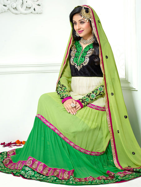 Jodha-Sonal:Alluring Embroidered Anarkali Green Semi stitched Salwar Kameez By atisundar - 4210 - atisundar - 3 - click to zoom