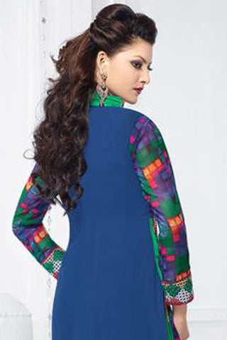 The Urvashi Rautela Collection:atisundar radiant Blue Designer Straight Cut  - 6737