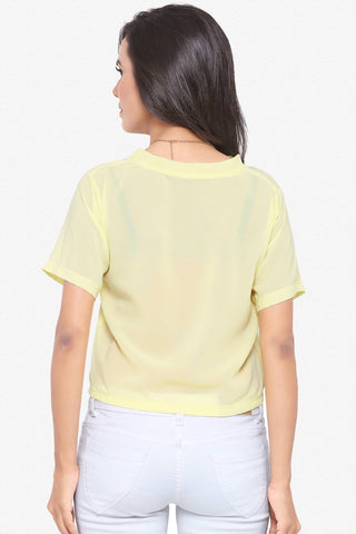Designer Party Wear Top:Atisundar bewitching soft moss Top with half sleeves in Yellow - 14121
