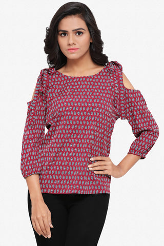 Designer Party Wear Top:Atisundar splendid Soft Crepe top with cold shoulder and bow in Maroon - 14051