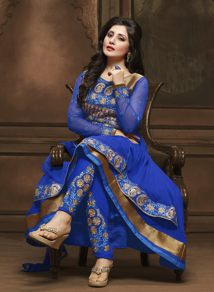 The Rimi Sen Collection:atisundar Awesome Blue Designer Embroidered Anarkali - 8913 - click to zoom