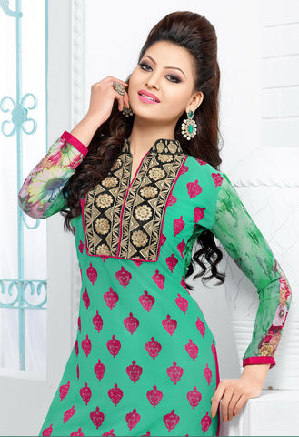 The Urvashi Rautela Collection:atisundar Beautiful Light Green Designer Straight Cut  - 6745 - atisundar - 4