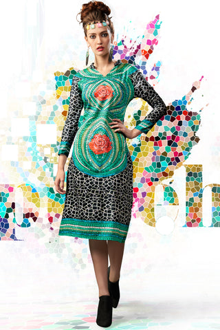Designer Top:atisundar resplendent Satin Cotton Designer Printed Party Wear Top in Sea Green - 10829 - atisundar - 3 - click to zoom