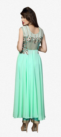 Designer Straight Cut:atisundar splendid Sea Green Designer Straight Cut  - 8626 - atisundar - 3 - click to zoom