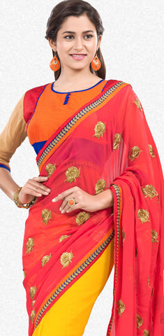 Partywear Saree:atisundar Smart Designer Party Wear Sarees in Pink  - 7144 - atisundar - 4