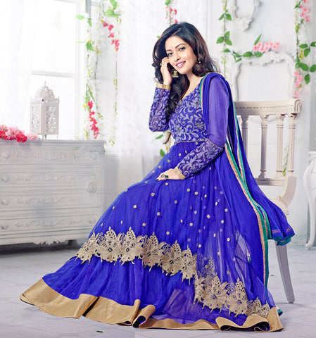 Designer Partywear Anarkali:atisundar Alluring Blue embroidered Party Wear Anarkali - 7148 - atisundar - 3
