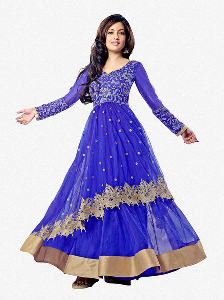 Designer Partywear Anarkali:atisundar Alluring Blue embroidered Party Wear Anarkali - 7148 - atisundar - 1 - click to zoom