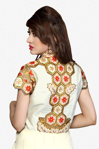 Designer Straight Cut:atisundar Beautiful White Designer Straight Cut  - 8629 - atisundar - 3