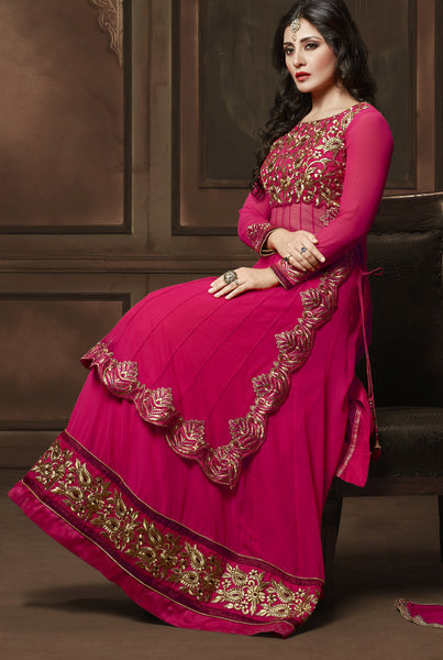 The Rimi Sen Collection:atisundar appealing Pink Designer Embroidered Anarkali - 8918 - atisundar - 3 - click to zoom