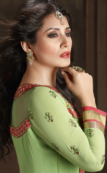 The Rimi Sen Collection:atisundar Charismatic Green Designer Embroidered Anarkali - 8919 - atisundar - 2 - click to zoom