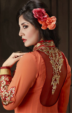 The Rimi Sen Collection:atisundar Charismatic Orange Designer Embroidered Anarkali - 8920 - atisundar - 3 - click to zoom