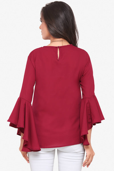 Designer Party Wear Top:Atisundar bewitching soft moss Georgette top with flute sleeves in Maroon - 14076 - click to zoom