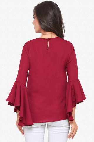 Designer Party Wear Top:Atisundar bewitching soft moss Georgette top with flute sleeves in Maroon - 14076