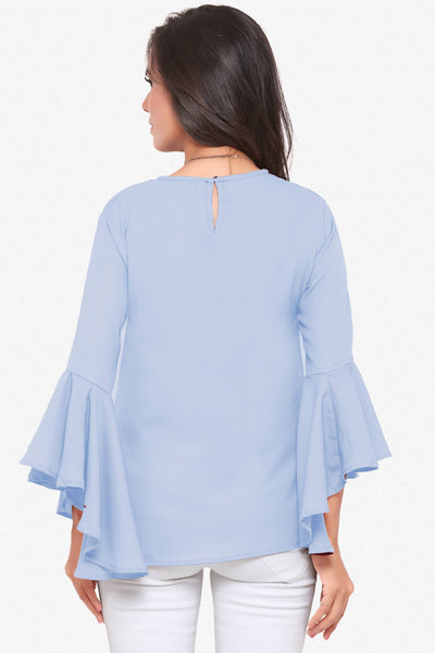 Designer Party Wear Top:atisundar Awesome Textured Crepe Designer Top with flute sleeves in Blue - 14126 - click to zoom