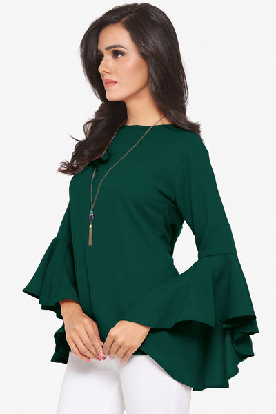 Designer Party Wear Top:Atisundar Great soft Moss Georgette top with flute sleeves in Green - 14081 - click to zoom
