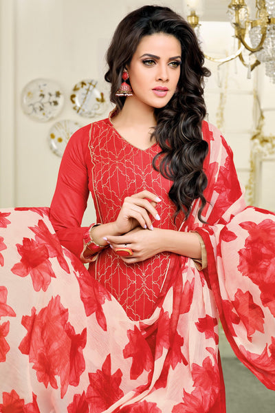 Designer Straight Cut:atisundar superb Red Designer Straight Cut Suit In Chanderi Cotton - 10470 - atisundar - 4 - click to zoom