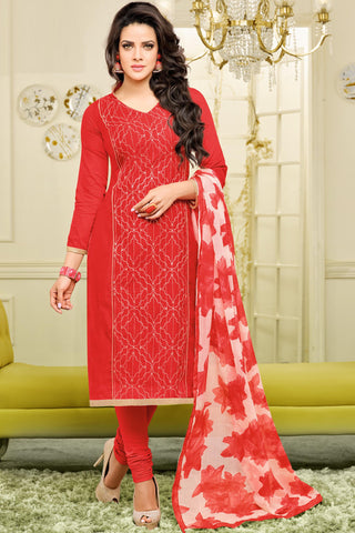 Designer Straight Cut:atisundar superb Red Designer Straight Cut Suit In Chanderi Cotton - 10470 - atisundar - 3 - click to zoom