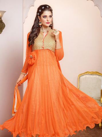 Designer Gown Style Suit:atisundar stunning Orange Anarkali - 7539 - atisundar - 4 - click to zoom