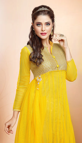 Designer Gown Style Suit:atisundar bewitching Yellow Anarkali - 7540 - atisundar - 4 - click to zoom