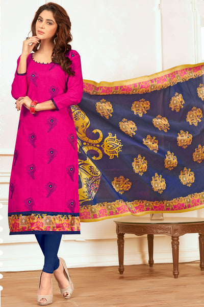 Embroidered Straight Cut Suit With Digital Print Dupatta:atisundar appealing Pink Designer Straight Cut Embroidered Suits - 15082 - click to zoom
