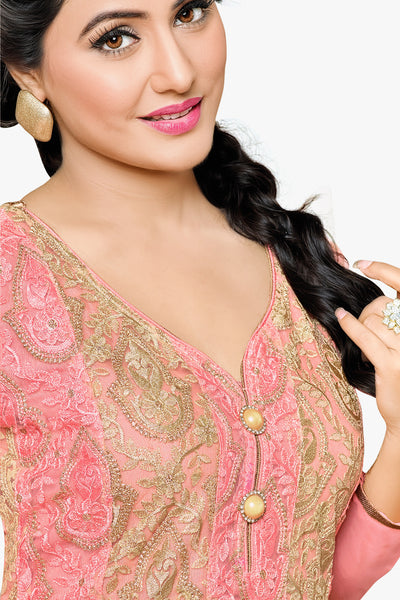 Designer Straight Cut:atisundar Awesome Light Pink Designer Embroidered Party Wear Straight Cut In Faux Georgette Featuring Heena Khan-Akashra - 11570 - click to zoom