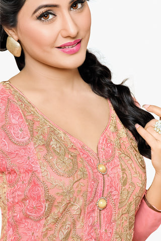 Designer Straight Cut:atisundar Awesome Light Pink Designer Embroidered Party Wear Straight Cut In Faux Georgette Featuring Heena Khan-Akashra - 11570 - atisundar - 2 - click to zoom