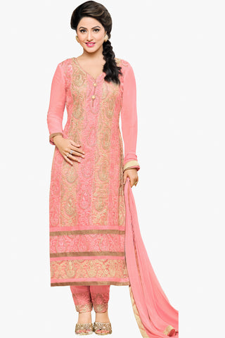 Designer Straight Cut:atisundar Awesome Light Pink Designer Embroidered Party Wear Straight Cut In Faux Georgette Featuring Heena Khan-Akashra - 11570 - atisundar - 1 - click to zoom