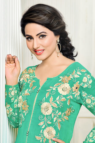 Designer Straight Cut:atisundar Great Aqua Marine Designer Embroidered Party Wear Straight Cut In Faux Georgette Featuring Heena Khan-Akashra - 11571 - atisundar - 4