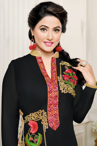 Designer Straight Cut:atisundar delightful Black Designer Embroidered Party Wear Straight Cut In Faux Georgette Featuring Heena Khan-Akashra - 11573 - atisundar - 4