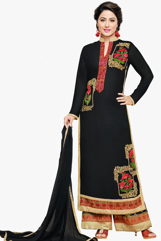 Designer Straight Cut:atisundar delightful Black Designer Embroidered Party Wear Straight Cut In Faux Georgette Featuring Heena Khan-Akashra - 11573 - atisundar - 1 - click to zoom