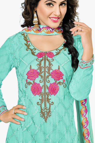 Designer Straight Cut:atisundar bewitching Turquoise Designer Embroidered Party Wear Straight Cut In Faux Georgette Featuring Heena Khan-Akashra - 11575 - click to zoom