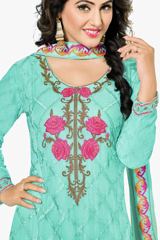 Designer Straight Cut:atisundar bewitching Turquoise Designer Embroidered Party Wear Straight Cut In Faux Georgette Featuring Heena Khan-Akashra - 11575 - atisundar - 2 - click to zoom