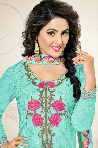 Designer Straight Cut:atisundar bewitching Turquoise Designer Embroidered Party Wear Straight Cut In Faux Georgette Featuring Heena Khan-Akashra - 11575 - atisundar - 4