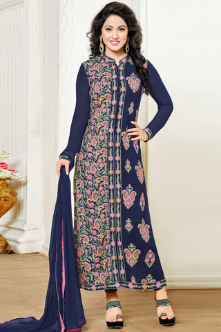Designer Straight Cut:atisundar pretty Navy Blue Designer Embroidered Party Wear Straight Cut In Faux Georgette Featuring Heena Khan-Akashra - 11576 - atisundar - 3 - click to zoom