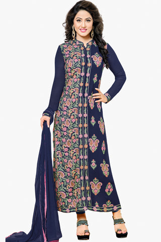 Designer Straight Cut:atisundar pretty Navy Blue Designer Embroidered Party Wear Straight Cut In Faux Georgette Featuring Heena Khan-Akashra - 11576 - atisundar - 1 - click to zoom